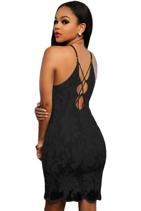 Chicloth Black Lace Floral Luxe Party Dress-Mini Dresses-Chicloth