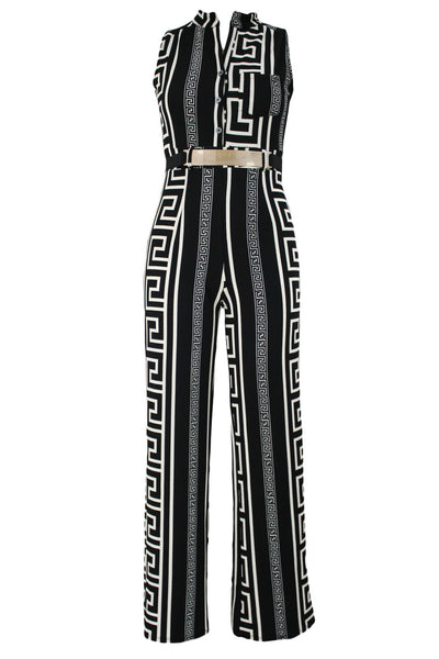 Chicloth Black Print Gold Belted Jumpsuit-Jumpsuits & Rompers-Chicloth