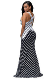 Chicloth White Black Stripes Maxi Dress
