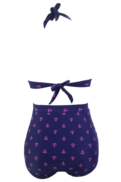 Chicloth Anchor Print Navy Retro High Waist 2 Pieces Swimsuit