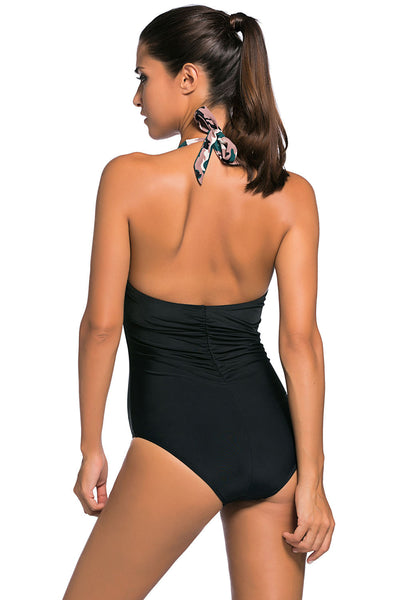 Chicloth Dark Camouflage Print Black Body One piece Swimwear
