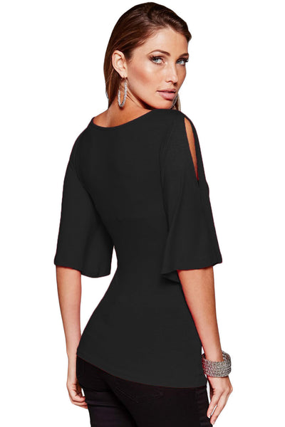 Chicloth Black V Neck Slit Sleeve Wrap Top-Blouse-Chicloth