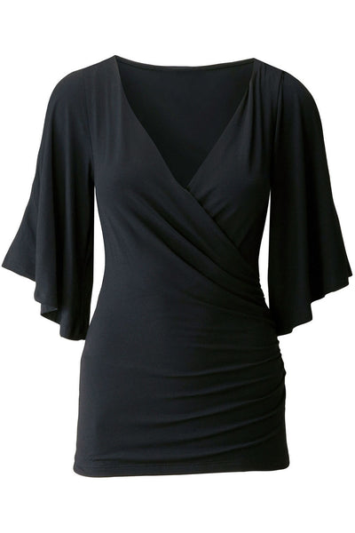 Chicloth Black V Neck Slit Sleeve Wrap Top