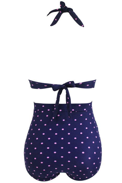 Chicloth Polka Dot Print Retro High Waist 2 Pieces Swimsuit-High Waist Swimwear-Chicloth