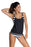 Chicloth Black Layered-Style Cross Back Tankini with Triangular Briefs-Plus size swimwear-Chicloth