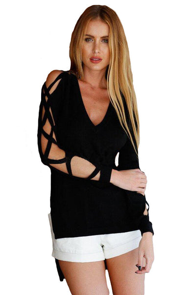Chicloth Fashionable V Neck Crisscross Hollow-out Long Sleeves Top