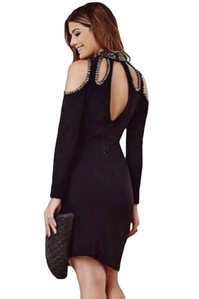 Chicloth Black Funky Studded Cutout Cold Shoulder Dress