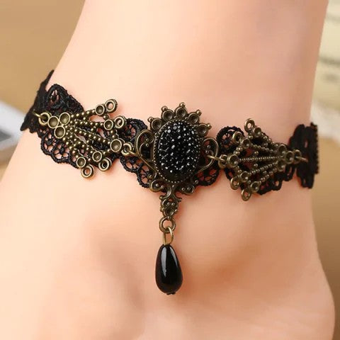 Chicloth Black Lace Crochet Floral Faux Pearl Teardrop Anklet-jewelries-Chicloth