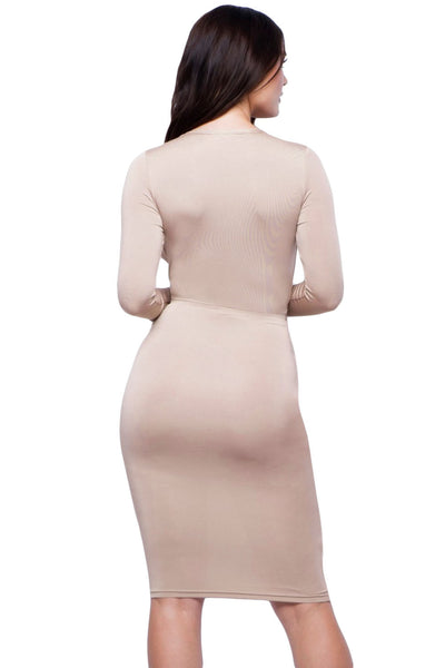 Chicloth Apricot Slinky Knotted Long Sleeve Knee Length Dress