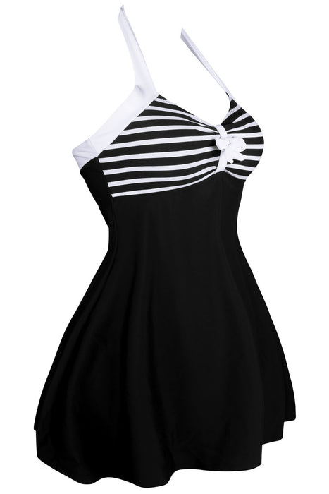 Chicloth Black White Stripes One piece Swimdress-One piece Swimwear-Chicloth