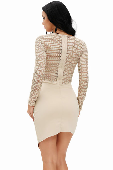 Chicloth See-through Crochet Patchwork Long Sleeve Bodycon Dress-Chicloth