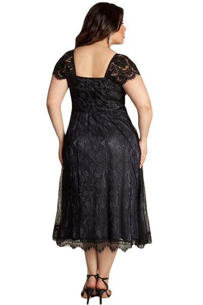 Chicloth Elegant Lace Embellished Black Plus Size Dress