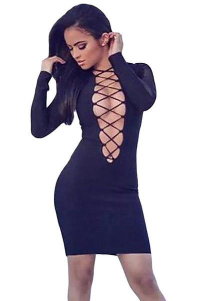 Chicloth Black Crisscross Plunge V Neck Long Sleeve Dress