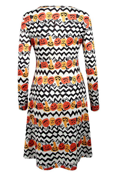 B| Chicloth Halloween Pumpkin Print Dress