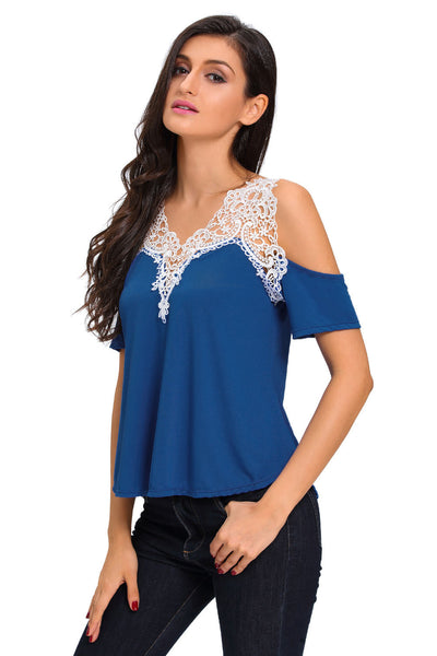Chicloth Crochet Detail Blue Cold Shoulder Short Sleeve Top
