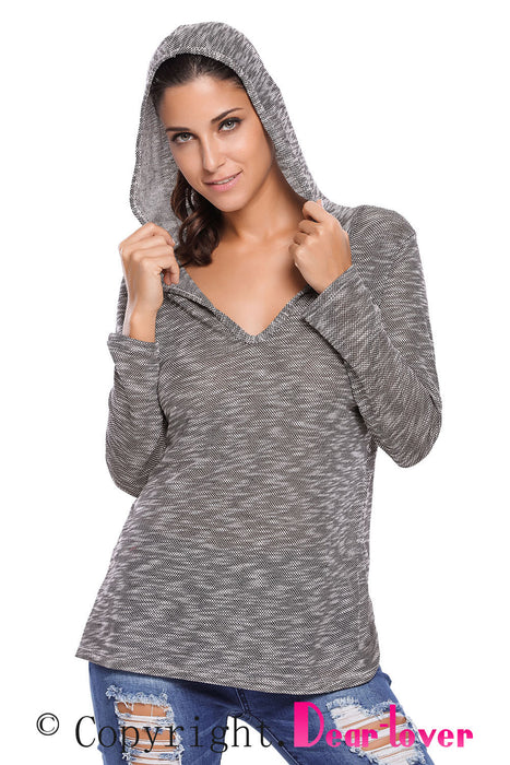 Chicloth Black Hooded V-Neck Long Sleeve Loose Knitted Top-Sweater-Chicloth