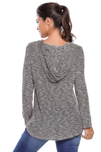 Chicloth Black Hooded V-Neck Long Sleeve Loose Knitted Top