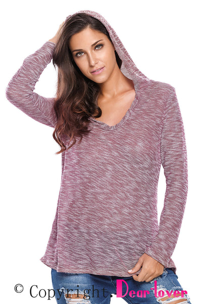 Chicloth Burgundy Hooded V-Neck Long Sleeve Loose Knitted Top