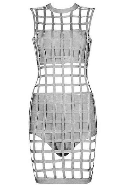 Chicloth 3pcs Gray Caged Bandage Dress-Bandage Dresses-Chicloth