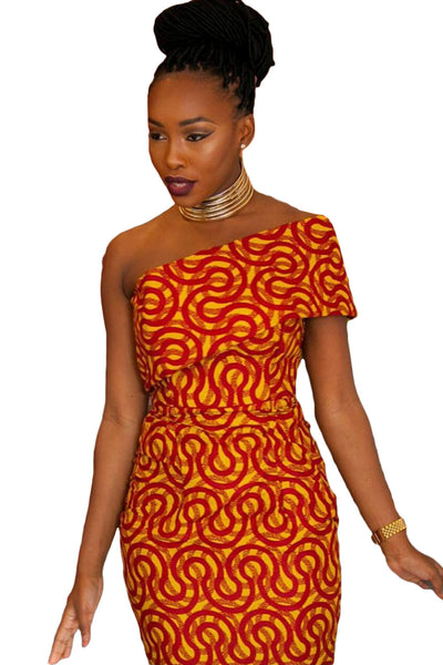 Chicloth Single Shoulder Mermaid Hem Africa Print Dress