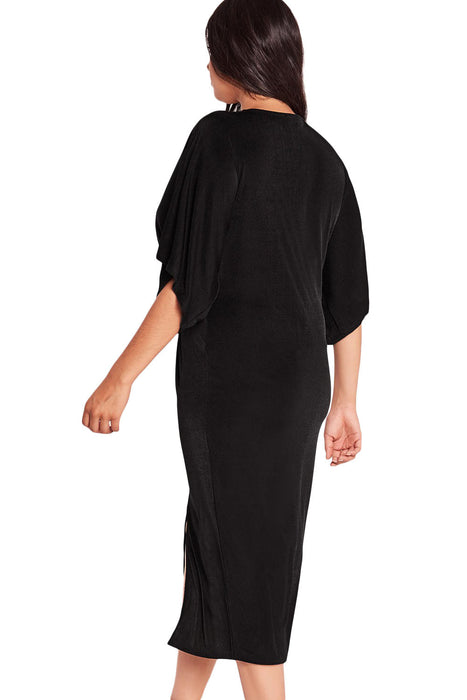 Chicloth Black Kimono Sleeve Knotted Pleated Front Plus Size Dress-Plus size Dresses-Chicloth