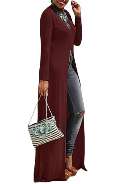 Chicloth Burgundy High Front Slit Long Shirt Dress Top-Blouse-Chicloth
