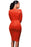 Chicloth Orange Faux Suede Rhinestone Front Long Sleeves Dress-Bodycon Dress-Chicloth