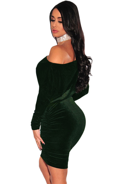 Chicloth Green Velvet Off The Shoulder Ruched Dress-Mini Dresses-Chicloth