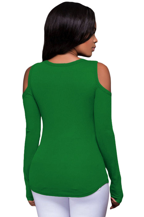 Chicloth Green Long Sleeve Cut-out Shoulder Ribbed Top-Blouse-Chicloth