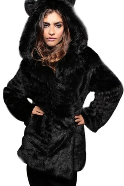 Chicloth Comfortable Hooded Overcoats-Faux Fur Coats-Chicloth