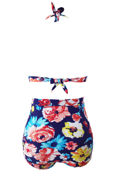 Chicloth Blooming Navy Retro High Waist 2 Pieces Plus Swimsuit