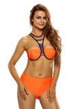 Chicloth Orange High Neck Cross Back High Waist Swimsuit