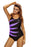Chicloth Purple Splicing Color Block Black Monokini-One piece Swimwear-Chicloth