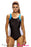 Chicloth Blue White Detail Black Racerback One Piece Swimsuit-One piece Swimwear-Chicloth