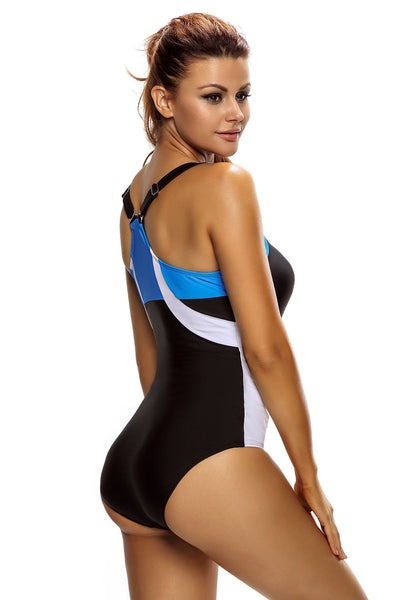 Chicloth Blue White Detail Black Racerback One Piece Swimsuit