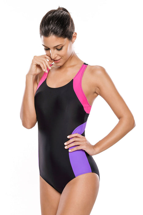 Chicloth Rosy Lilac Detail Black Racerback One Piece Swimsuit-One piece Swimwear-Chicloth