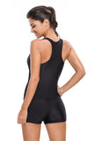 Chicloth Black Pullover Tank Top Shorts Tankini Set