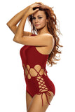 Chicloth Date Red Lace Up Cutout Asymmetric Shoulder Monokini