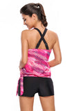 Chicloth Rosy Print Blouson Tankini with Black Swim Bottom