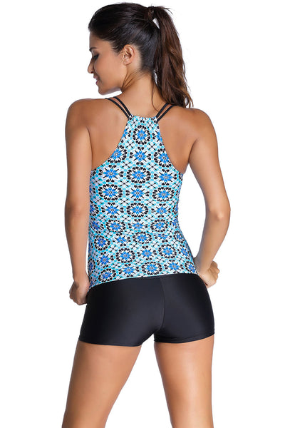 Chicloth Bluish Patterned Shirr Tankini with Square Shorts