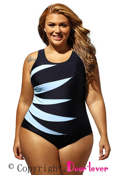 Chicloth Cyan Splicing Color Block Black Monokini