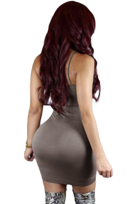 Chicloth Grey Seamless Bodycon Dress-Mini Dresses-Chicloth