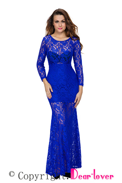 Chicloth Blue Long Sleeves Lace Round Neck Lace-up Back Maxi Dress