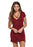 Chicloth Burgundy Jersey Knit Cross Strap Tunic Top Short Dress-Mini Dresses-Chicloth