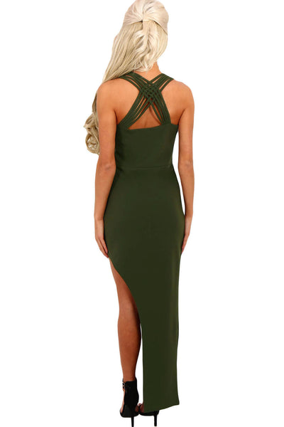 Chicloth Army Green Strappy Side Split Maxi Dress
