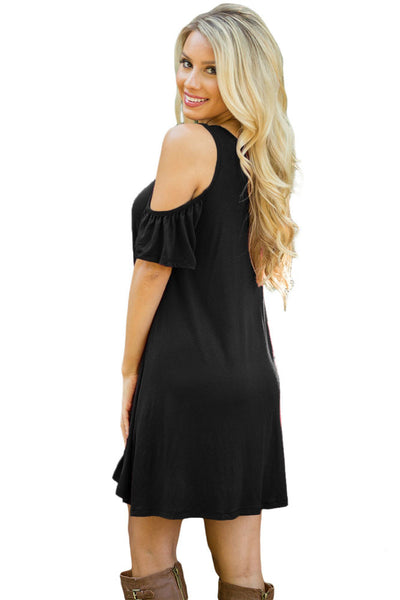 Chicloth Black Naughty Cute Cold Shoulder Short Dress