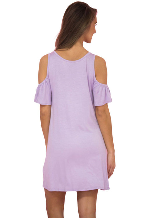 Chicloth Lilac Naughty Cute Cold Shoulder Short Dress-Mini Dresses-Chicloth