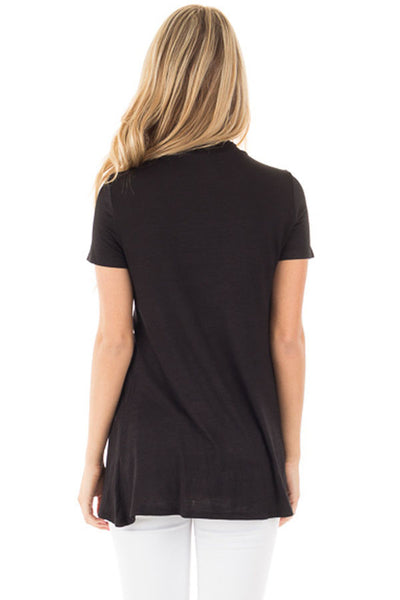 Chicloth Black Mock Neck Cut out Short Sleeve Top
