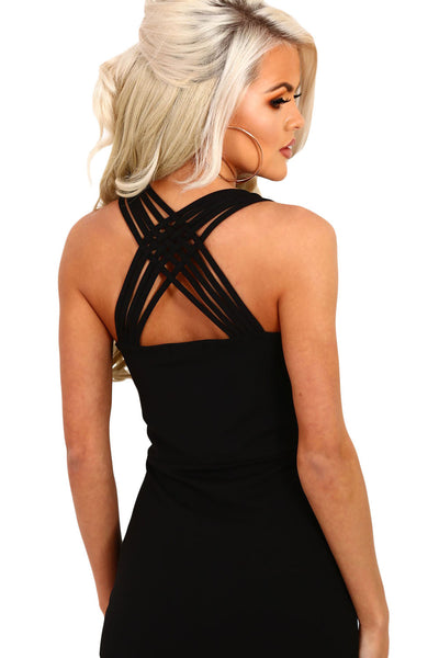 Chicloth Black Strappy Side Split Maxi Dress