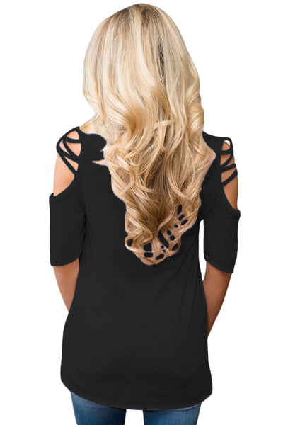 Chicloth Black Cold Shoulder Crisscross Detail Relaxing Fit Top